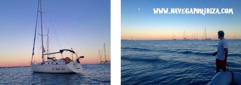 Noche en barco romántica ibiza