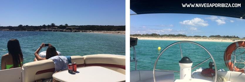 excursion barco en formentera playa de espalmador