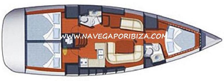 distribucion del velero jeaneau 42 en ibiza para alquilar